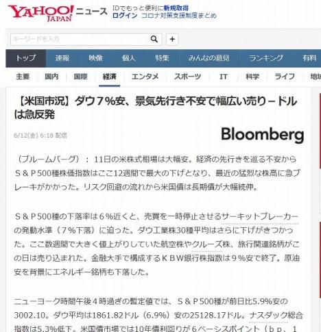 200611_Yahoo! ニュース_VOOが売られた史上4番目の下げ幅