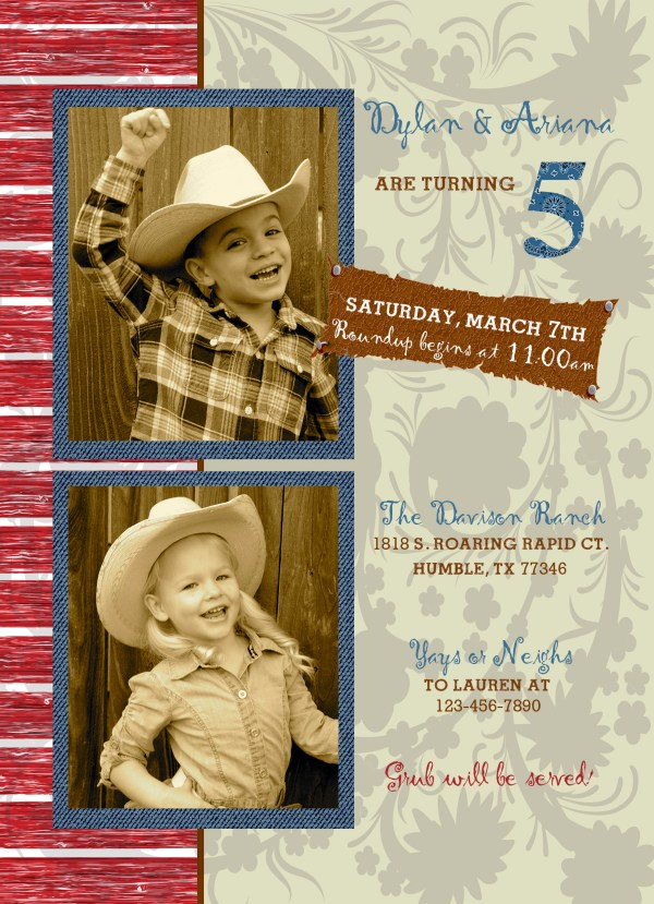 western birthday invitation