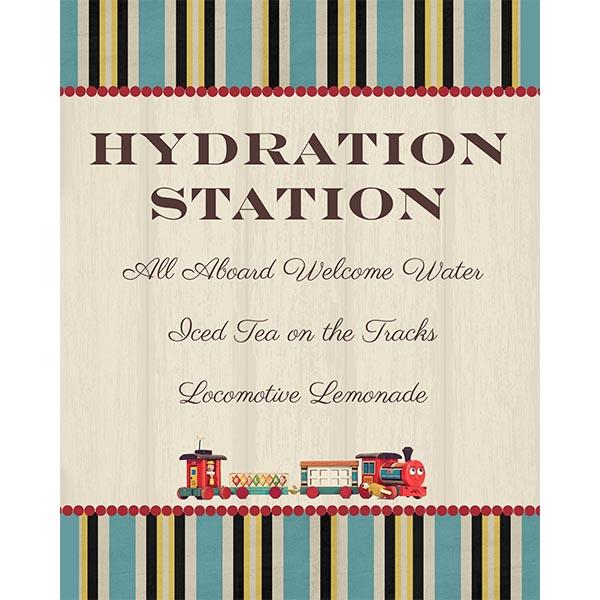 Vintage Train Hydration Station Sign