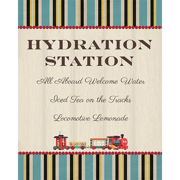Vintage Train Hydration Station Sign