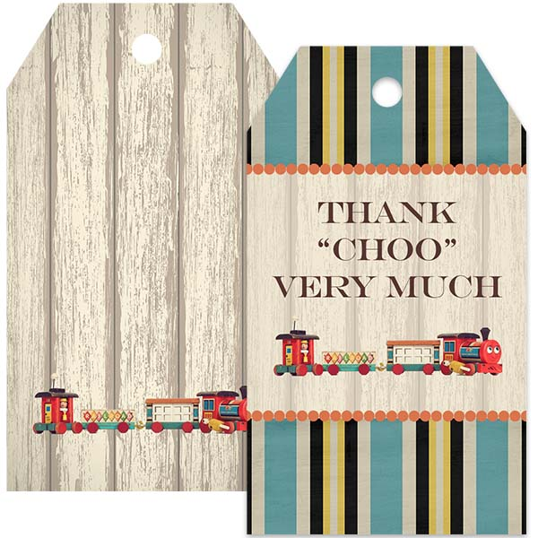 vintage train thank you gift tag