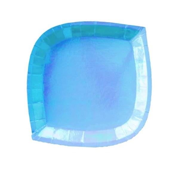 blue iridescent paper plate