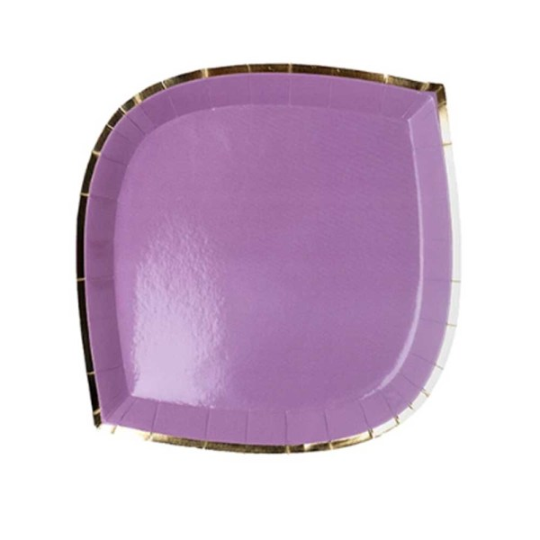 purple die cut paper plate with gold trim