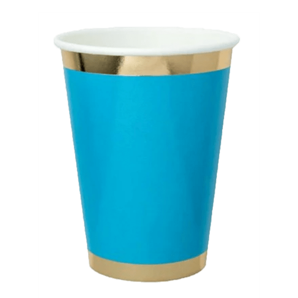 Blue paper cup with gold foil