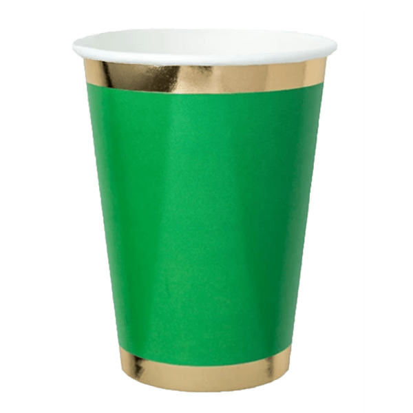 green paper cup with gold foil