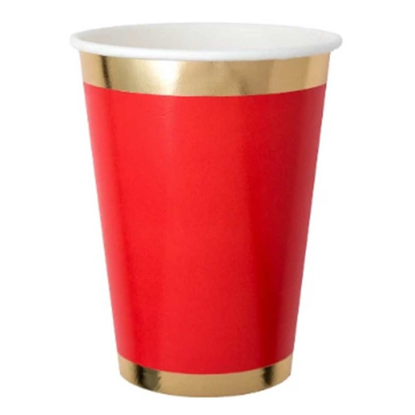 red paper cup with gold trim