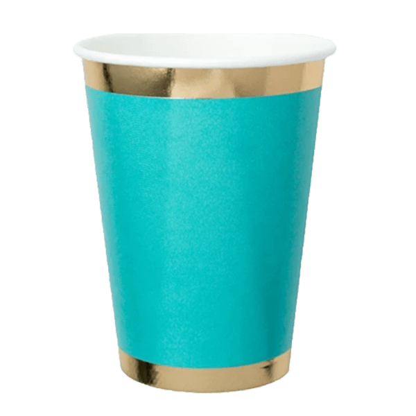 teal paper cup with gold foil