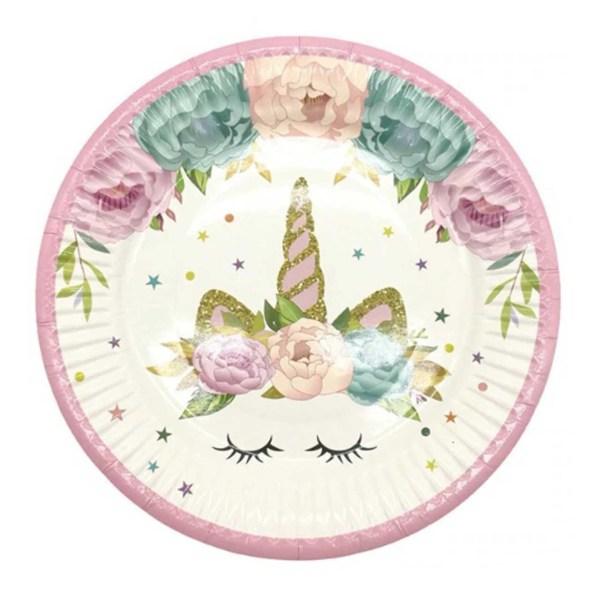 flower unicorn plate