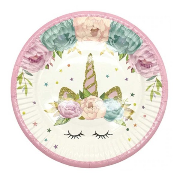 flower unicorn plate