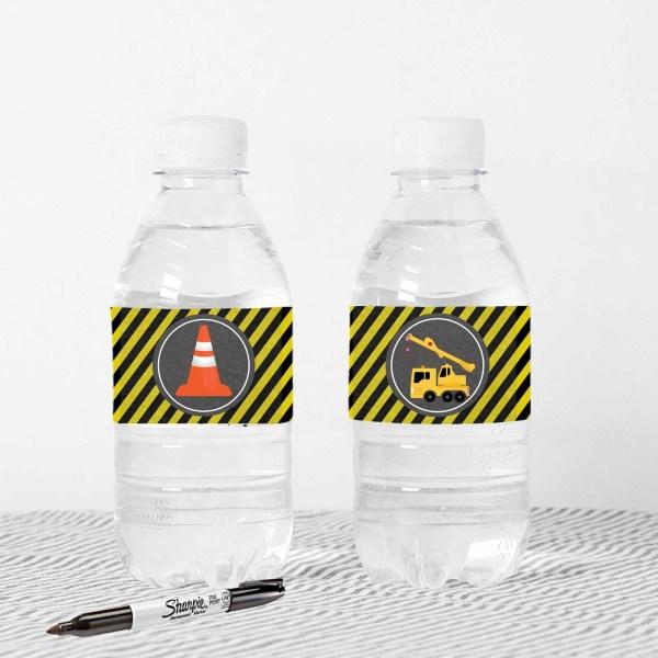 Construction Water Bottle Labels