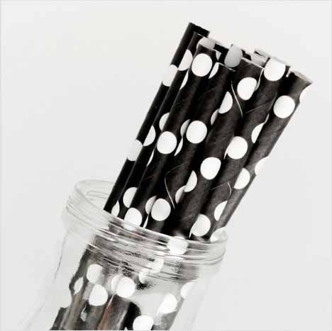 black and white polka dot straw