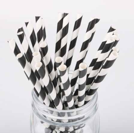 black and white stripe paper straws