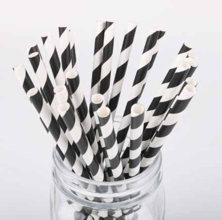black and white stripe paper straws