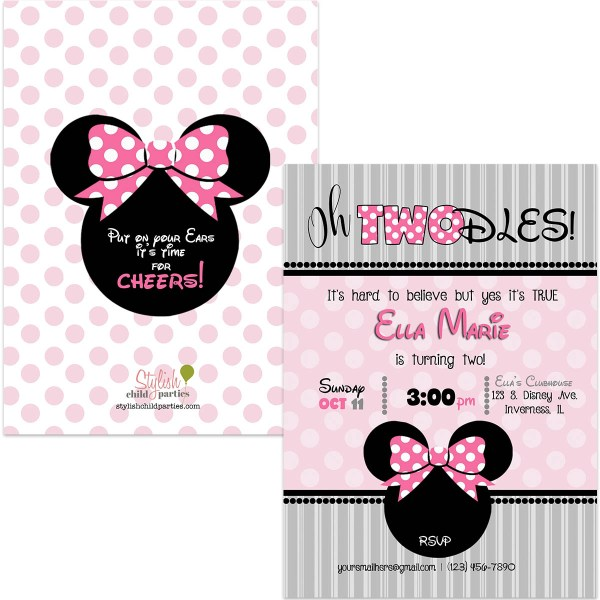 minnie twodles birthday invitation