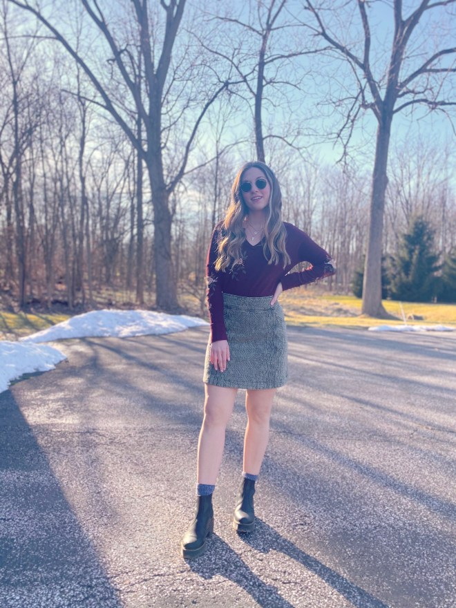Mini Skirt with Dr. Martens Rometty Boot