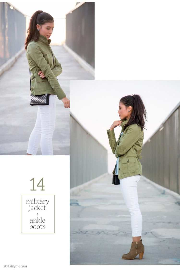 Military jacket, white jeans and ankleboots - 15 Stylish Ways to Wear White Jeans