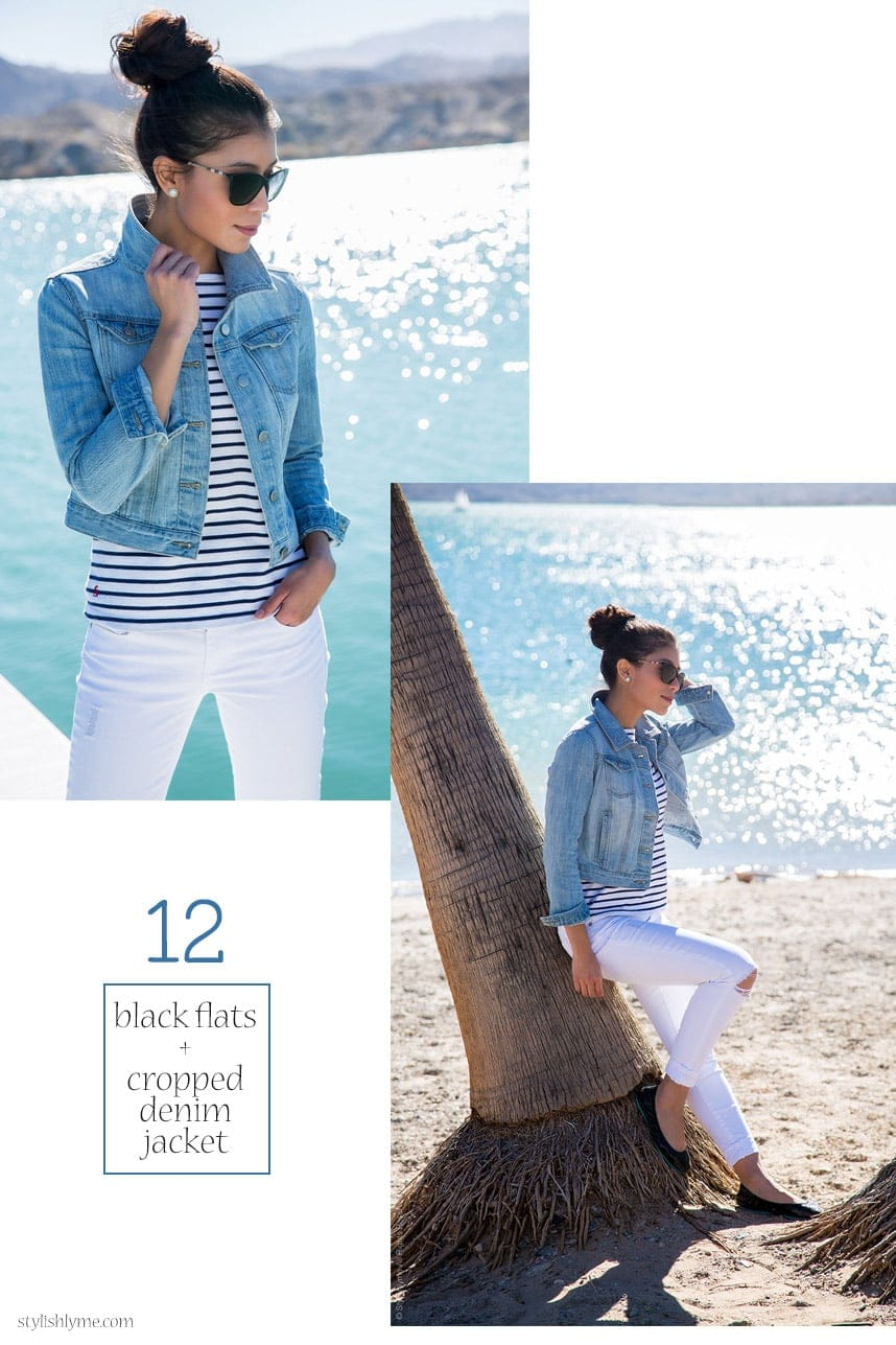 White jeans, stripes and a cropped denim jacket - 15 Stylish Ways to Wear White Jeans