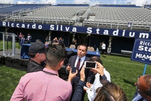 Riccardo Silva talks to the press during a conference in Florida International University's newly renamed Riccardo Silva Stadium in Miami, Florida on April 3, 2017.