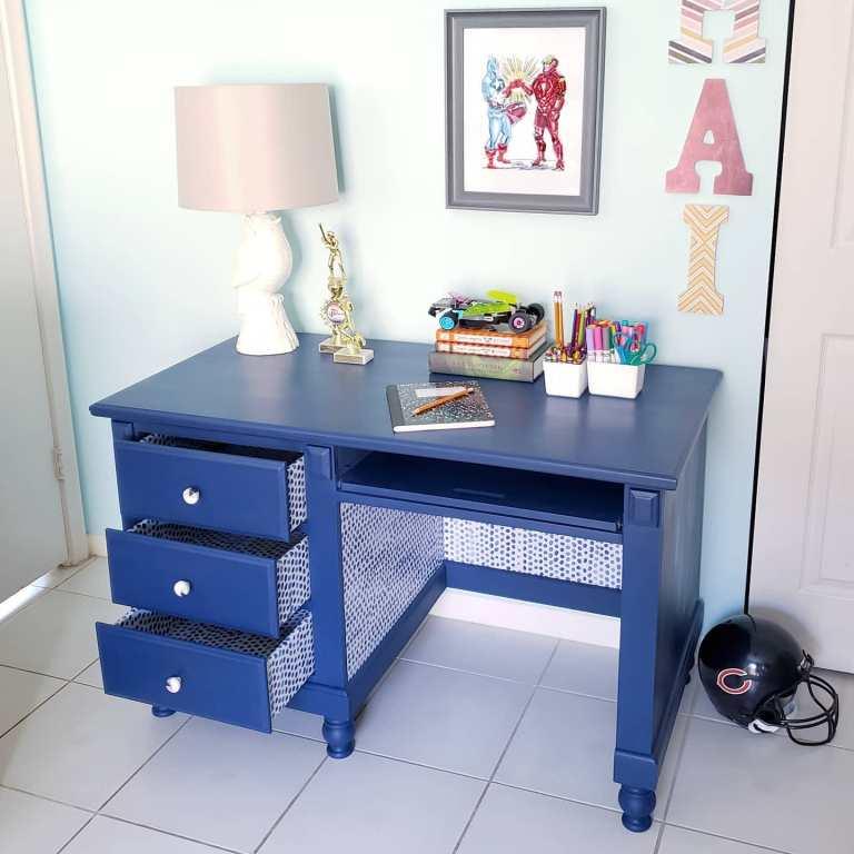 blue jolie paint desk makeover