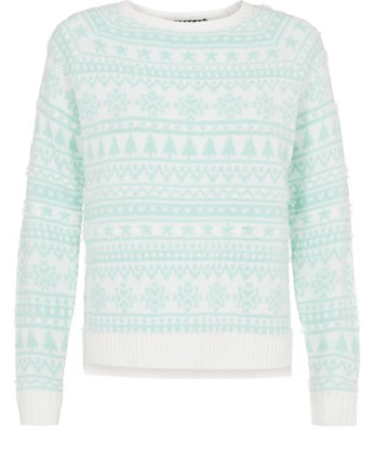 New Look Mint Green Fluffy Fairisle Christmas Jumper
