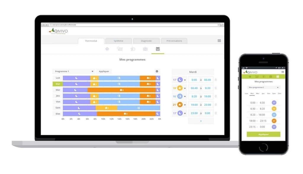 Qivivo thermostat application suivi chauffage et programmation