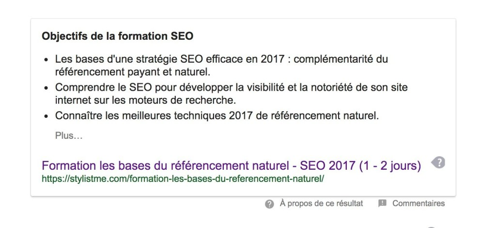 position 0 Google formation SEO 2017