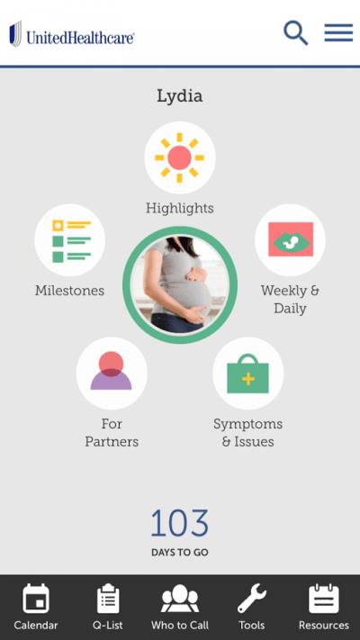 App maternité UHC Healthy Pregnancy - e santé