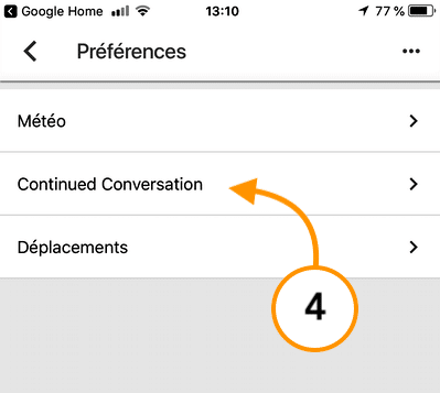 Conversation continue Google Home configurer 4