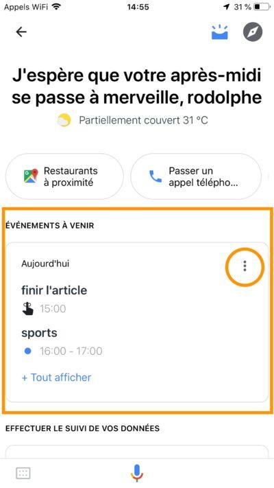 ajout événement google assistant visual snapshot