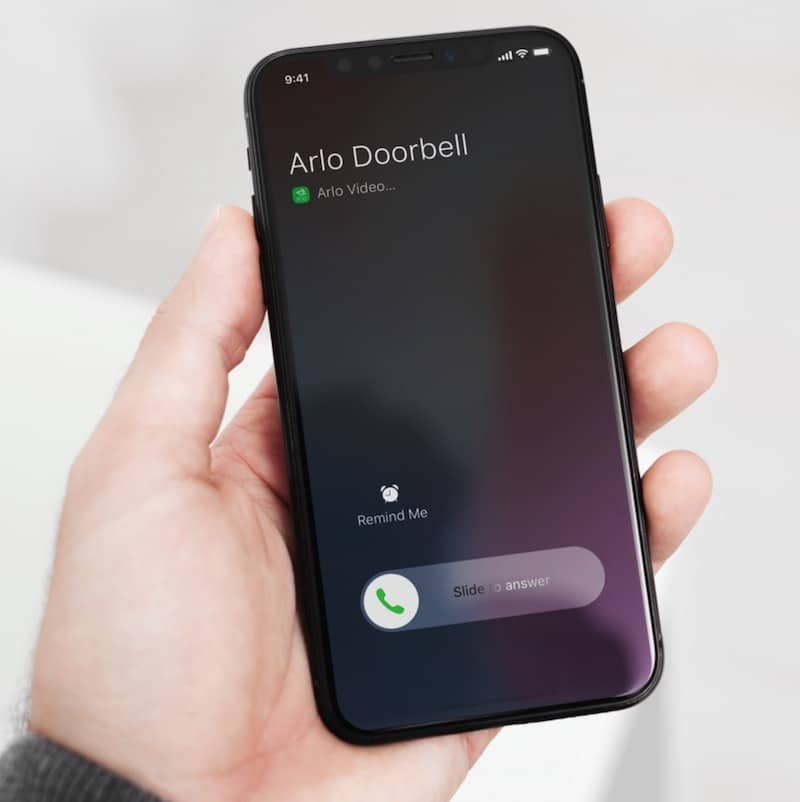 Arlo doorbell chime alerte sur smartphone