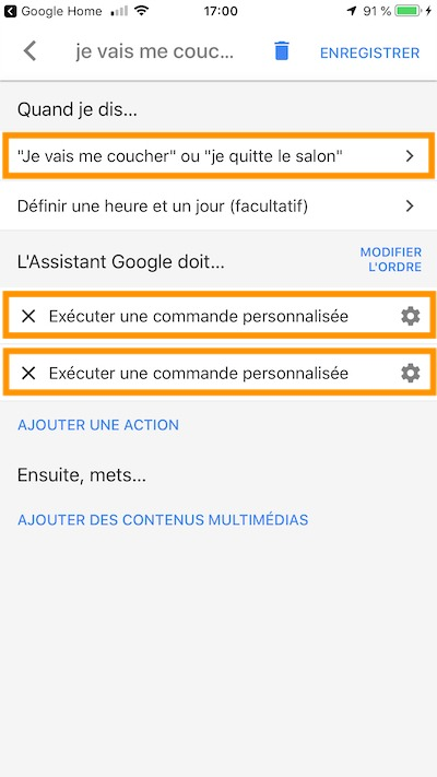 routine google home exemple ajout actions