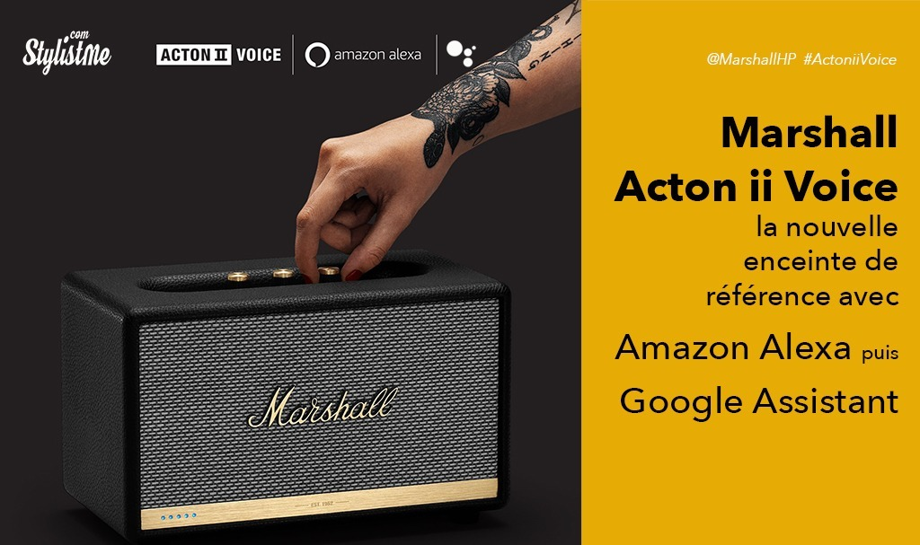 marshall acton ii voice avis test enceinte amazon alexa google assistant. Black Bedroom Furniture Sets. Home Design Ideas