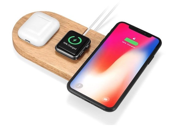 chargeur iPhone QI bois apple watch AirPods
