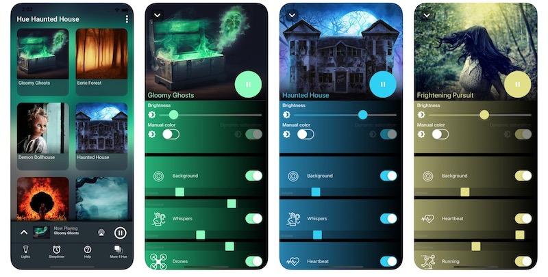 éclairage Halloween app hue haunted house