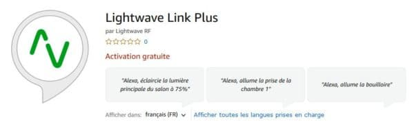 lightwaveRF link plus skill Alexa