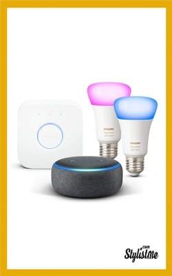 Cadeaux Noël 2018 high tech idées enceinte Amazon Echo 3 éclairage connecté Philips Hue