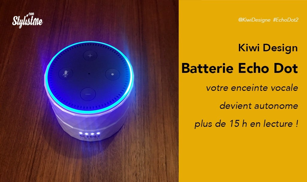 Batterie Amazon Echo Dot 2 autonome Kiwi Design : Alex et Alex Pack prix avis test