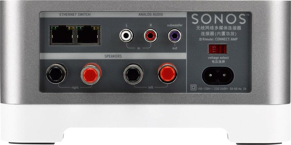sonos connect amp connectiques