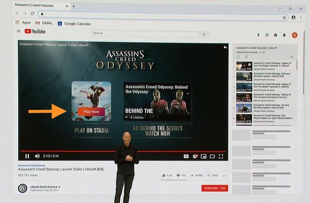 Stadia la plateforme jeu de Google sur YouTube
