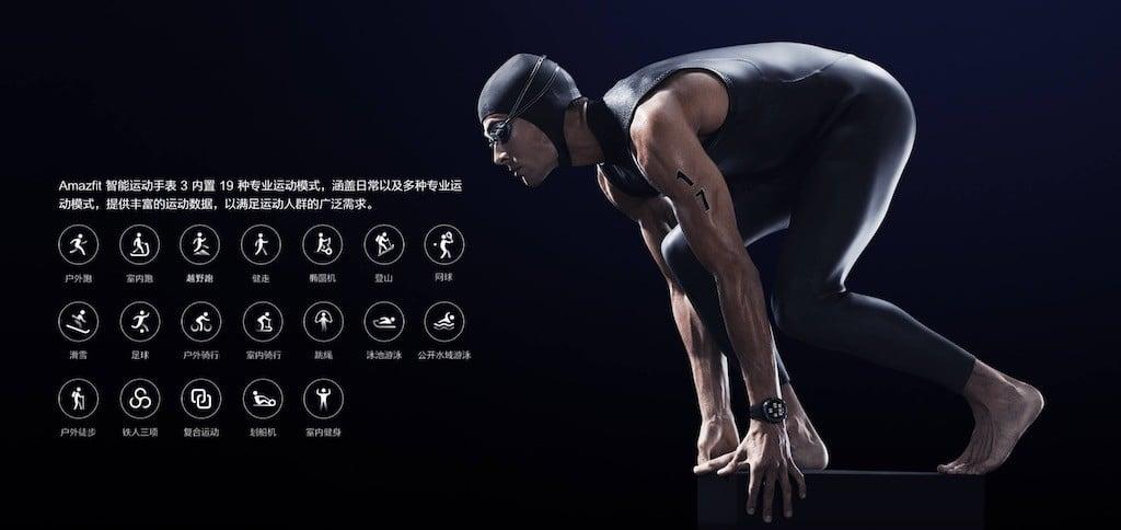 Amazfit Stratos 3 suivi 19 activités sportives