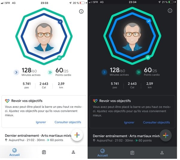 comment passer google fit en dark mode