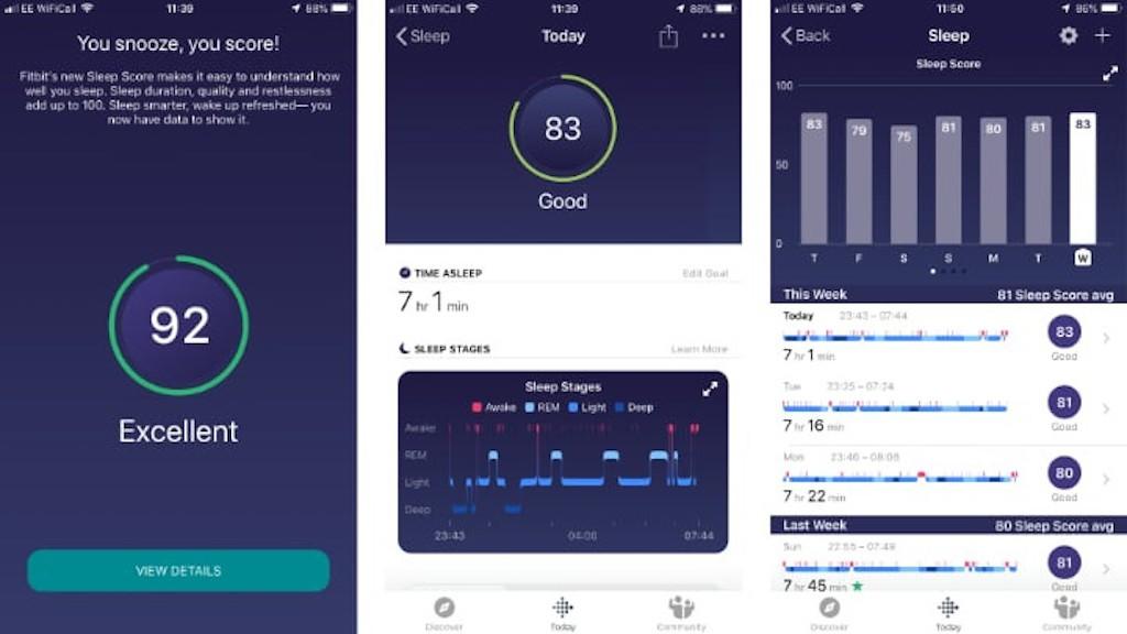 Fitbit Sense score de sommeil