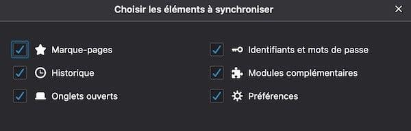 Firefox Reality choix des éléments à synchroniser