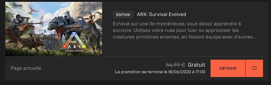 Ark Survival gratuit Epic Games