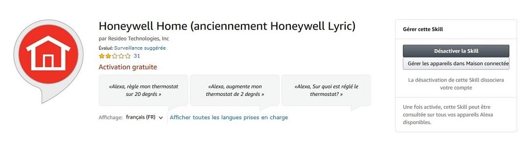 Skill Alexa Honeywell Home commande vocale