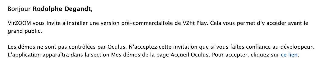 invitation test gratuit VZFit