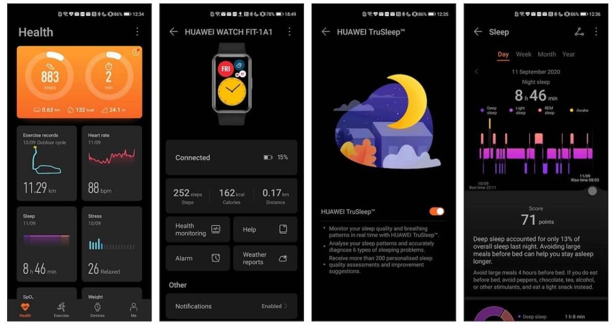 Huawei Watch Fit test suivi santé