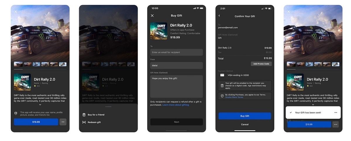 offrir jeu Oculus App Gifting
