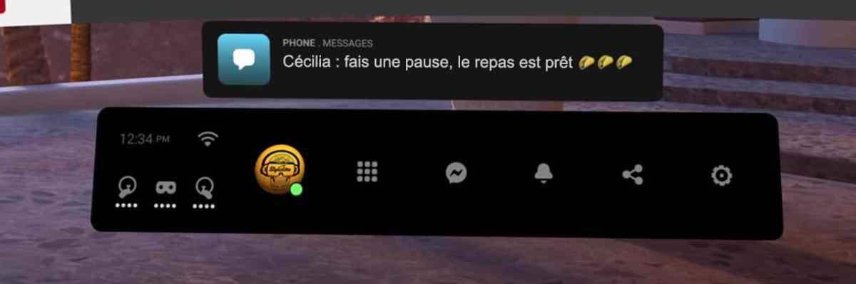 recevoir message Messenger VR Oculus