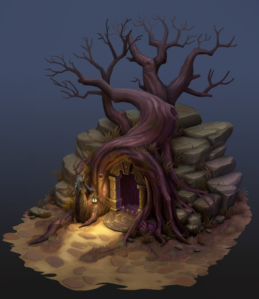 Dungeon below the Tree – 2.5 D Hand Painted  by Anthony Xenakis